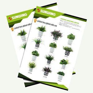 Catálogo de plantas artificiales en macetas para decor interior